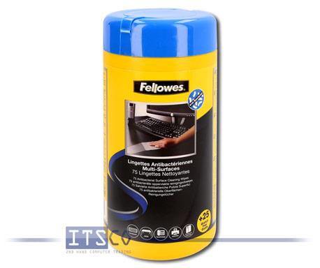 Fellowes 100 antibakterielle und antivirale Oberflächen-Reinigungstücher in Spenderdose