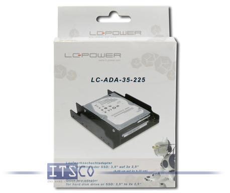 """Laufwerksschacht-Adapter LC-Power LC-ADA-35-225 für Festplatte oder SSD 3.5"""" AUF 2x 2.5"""" NEU & OVP"""