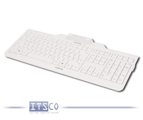 Tastatur Cherry KC 1000 SC mit integriertem Smartcard-Terminal Weiss-Grau USB-Anschluss Deutsch QWER