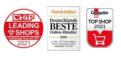 Auszeichnungen Leading Shops 2021, Top Shop 2021 und Beste Händler 2021