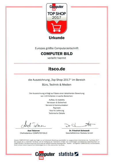 ITSCO als TOP Shop 2017 ausgezeichnet