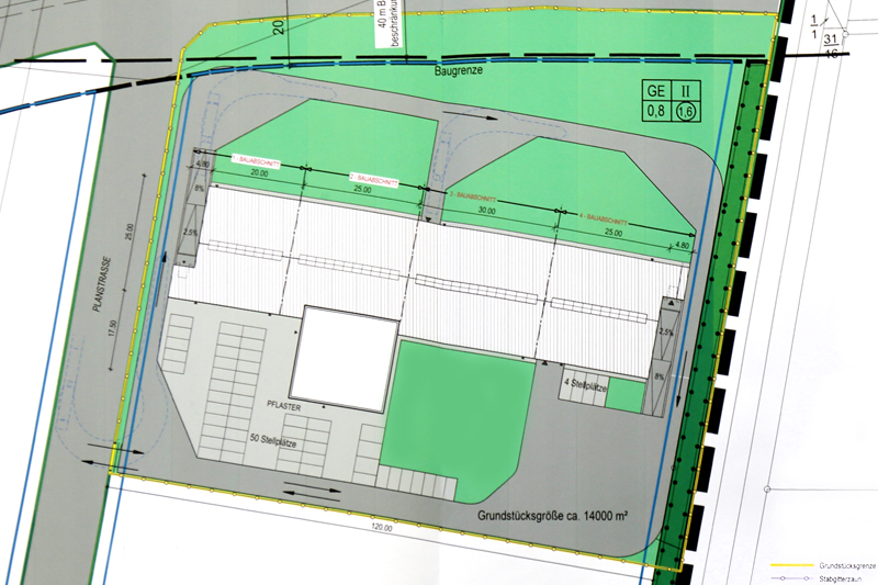 A blueprint of the site where ITSCO plans to build a new 20,000 m² facility