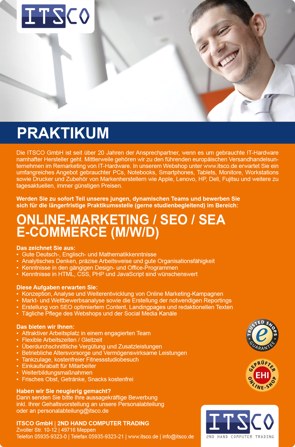 Praktikum im Bereich Online Marketing / SEO / E-Commerce