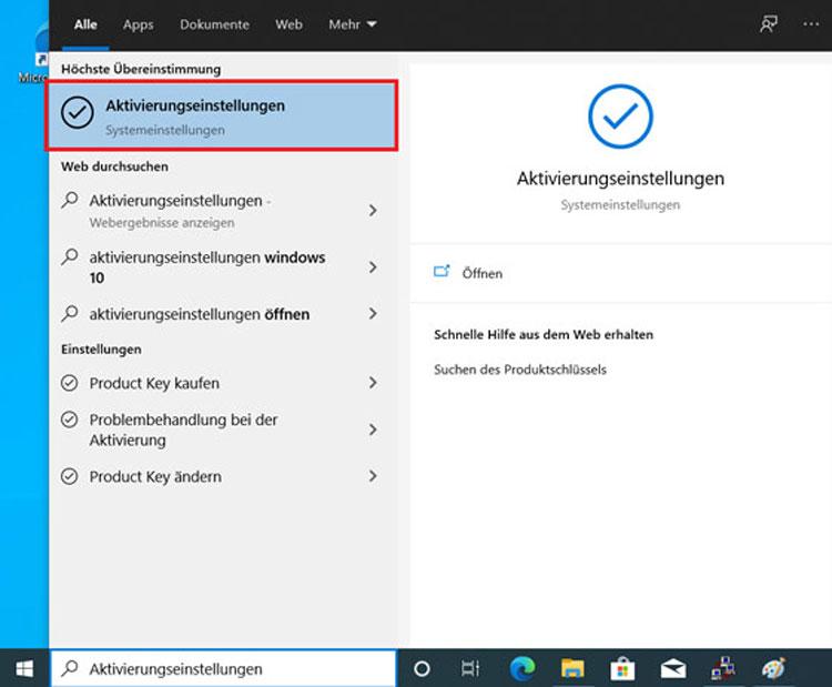 Aktivierungseinstellungen für Windows 10 eingeben und auswählen