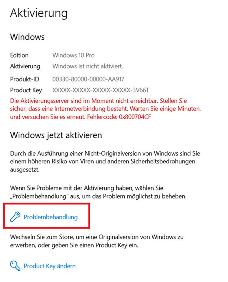 Windows 10 - Problembehandlung anklicken