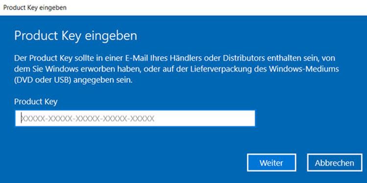 Product Key für Windows 10 eingeben