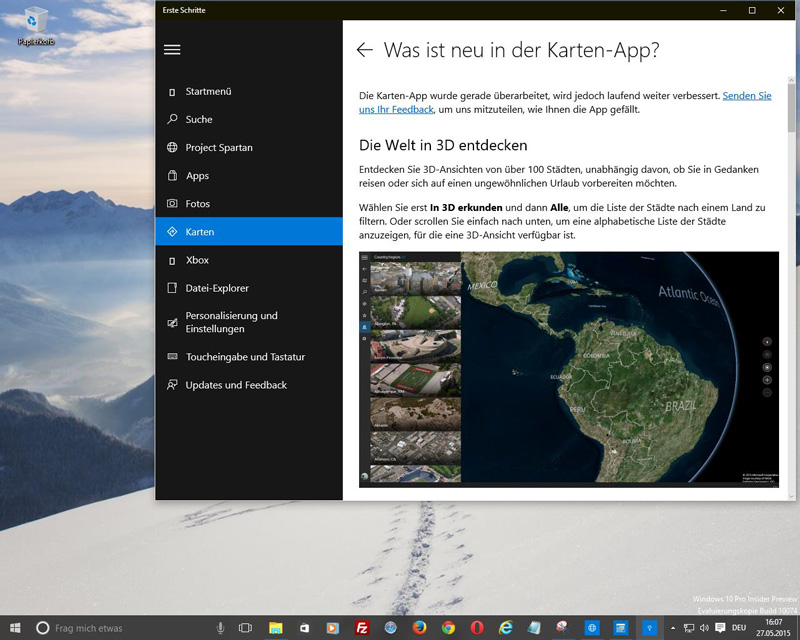 Windows 10 - Karten: Die Welt in 3D